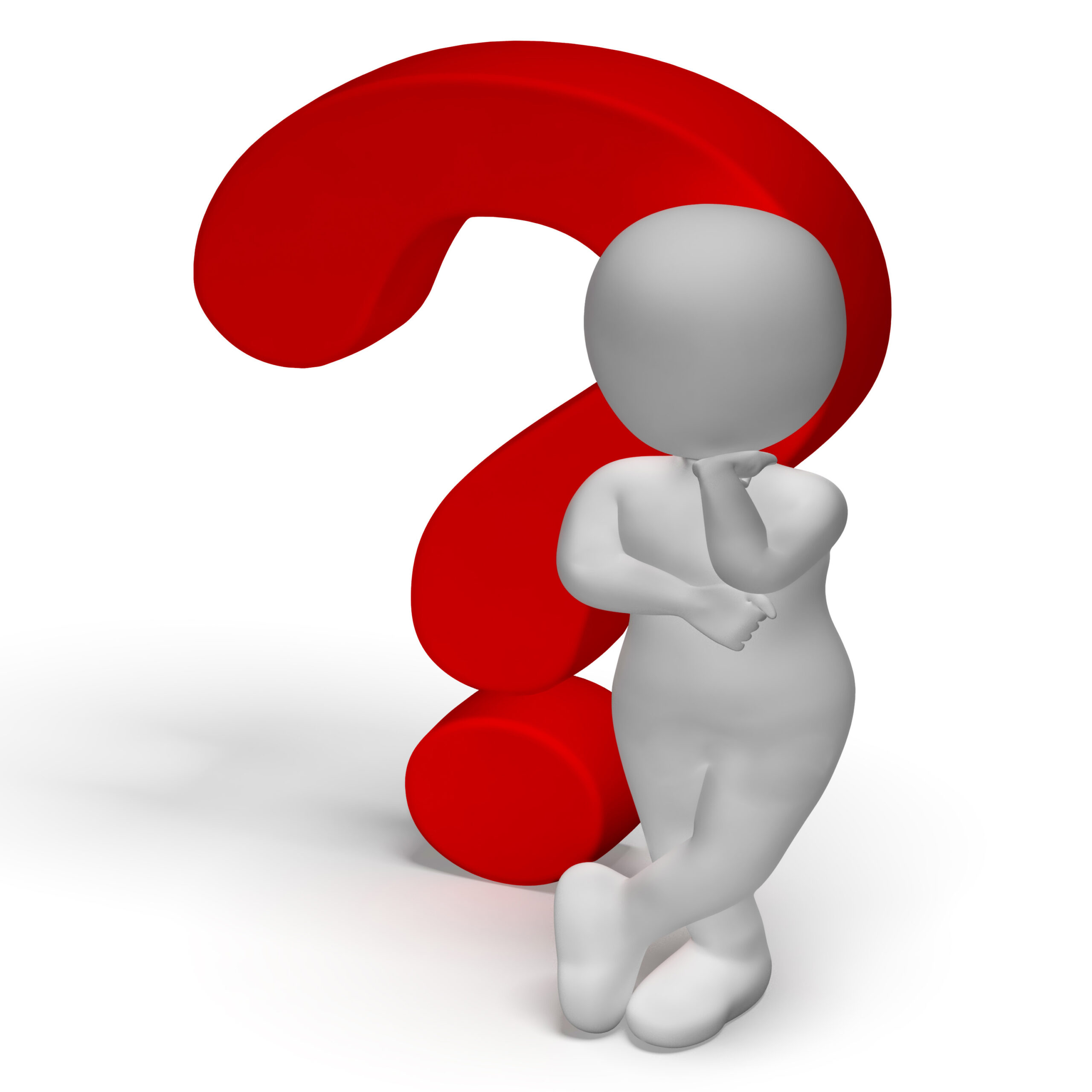Question Marks And Man Shows Confusion Or Unsure
